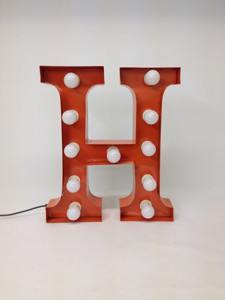 orange h marquee letter