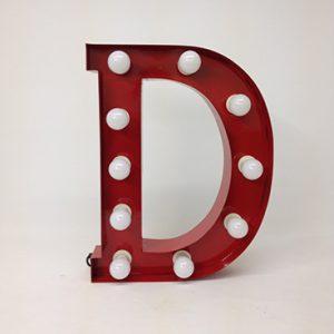 red carnival letter d handmade steel