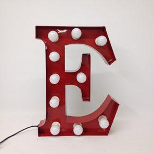 white carnival letter e handmade steel