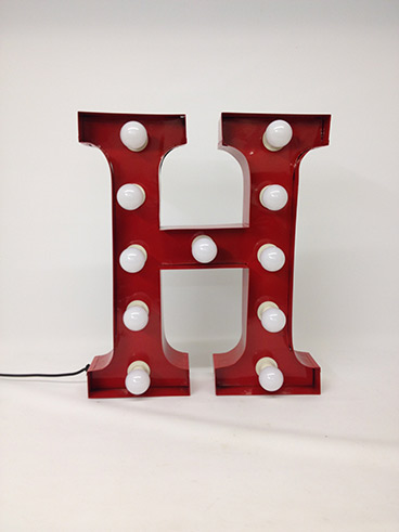 red h marquee letter