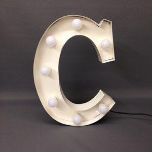 white carnival letter c handmade steel