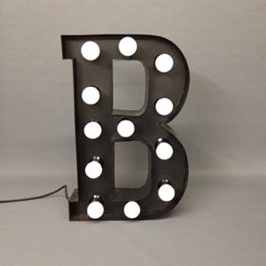 black marquee letter b