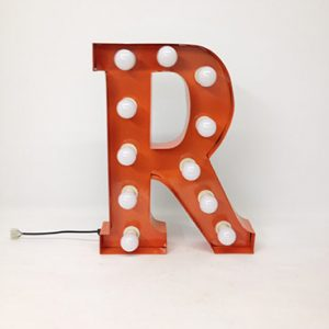 orange r marquee letter
