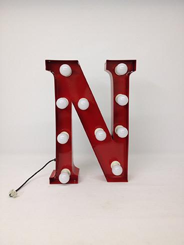 red carnival letter n