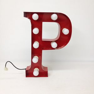 red carnival letter p