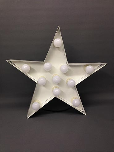 white handmade steel illuminated star