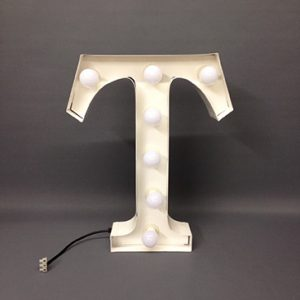 white t marquee letter