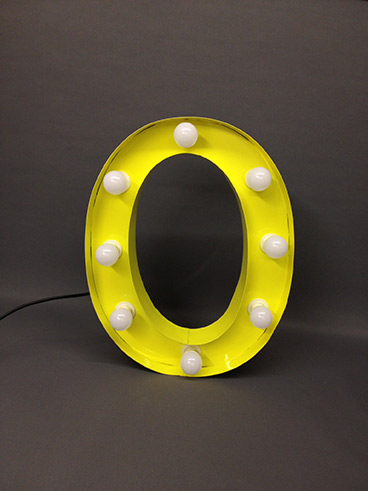 yellow marquee letter o