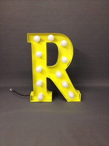 yellow r handmade marquee letter steel