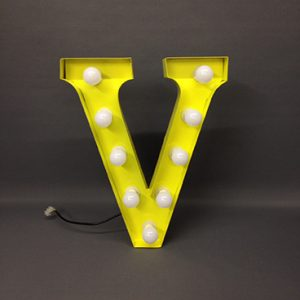 yellow v marquee letter