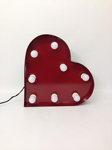 red steel handmade illuminated heart