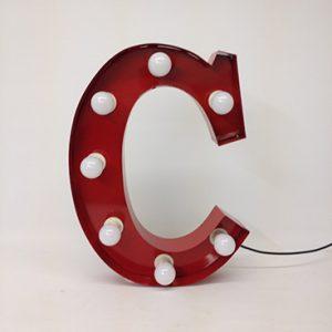 red carnival letter c handmade steel