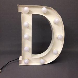 white carnival letter d handmade steel