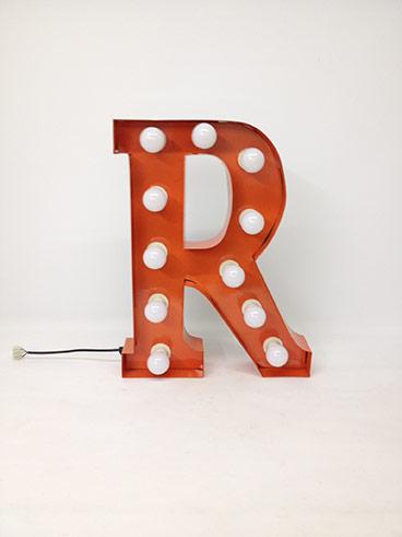 orange r marquee letter